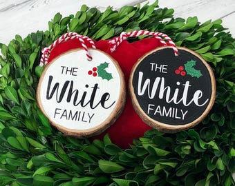 Family ornament, family name, christmas ornament, christmas, ornament, holly, black and white ornament, family name, family name ornament
