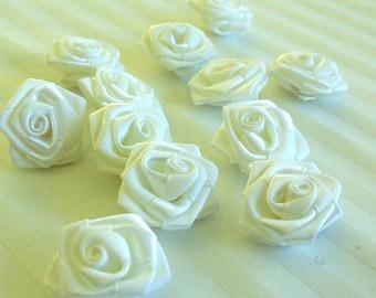 Beautiful White Satin Roses (20 Pkt) 3cm wide Embellishments Crafts Wedding