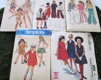 5 Vintage Girl's Sewing Patterns Size 10 Simplicity Butterick McCall's Circa 1963-74