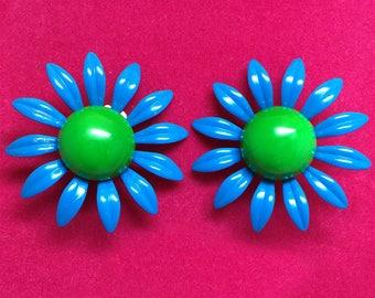 1960s Clip on Earrings Electric Blue and Green Mod Enamel Daisy Flower- Flower Power!
