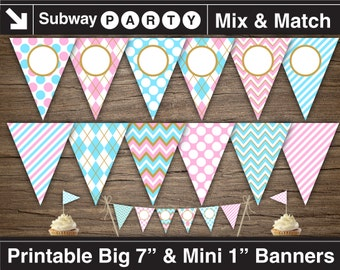 Gender Reveal Baby Shower Party Printable Banner & Mini Cake Bunting. Blue Pink Gold. DIY Editable Banner Blank. INSTANT DOWNLOAD.
