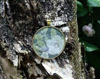 Greens and browns 'simply floral' pattern resin pendant. Resin Necklace, Resin Jewellery, boho.