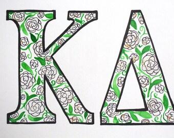 Custom Sorority Letters Floral Watercolor Painting