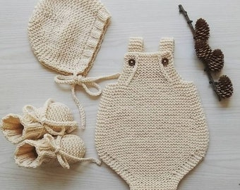 knitted coming home baby outfit -  soft cotton newborn set- handmade baby outfit - newborn coming home outfit - knitted romper newborn