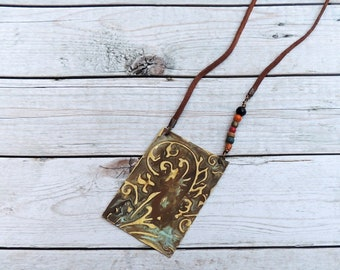 Ethnic necklace, patina necklace, engraved necklace, brass necklace, boho necklace, gift for her, brass engraving, mother's day gift
