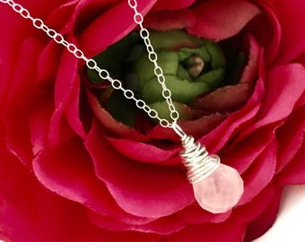 Sterling Silver Wire Wrapped Rose Quartz Pendant Necklace