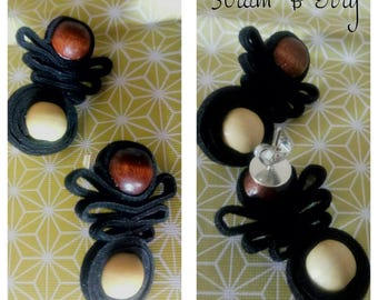 Elegant long earrings with wooden beads