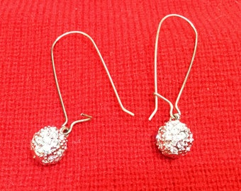 SWAROVSKI crystal ball silver earrings Hollywood Old School Glam Rock