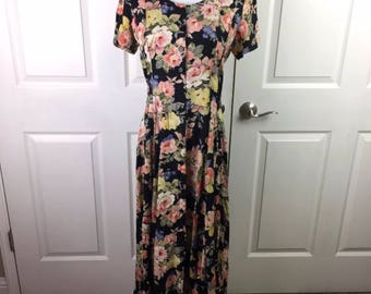 Vintage 1990s - Starina Maxi Dress Sz M Rayon Floral Short Sleeve Black Pink Yellow