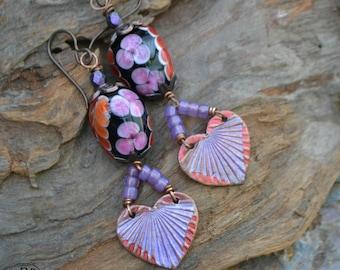 Lampwork and Painted Copper Earrings earrings