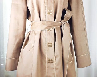 Vintage 90's fitted khaki belted trench coat