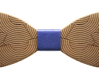 Handmade wooden bow tie, chic fashion accessory mod tube