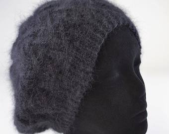 Black pure angora hand knitted Hat