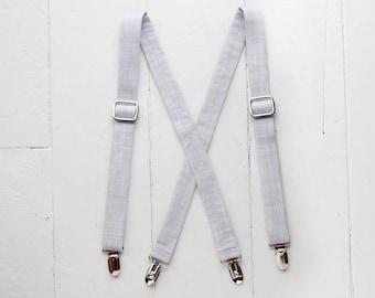 Gray toddler boys suspenders, baby suspenders, toddler suspenders, little boys suspenders, light gray suspenders, chambray suspenders