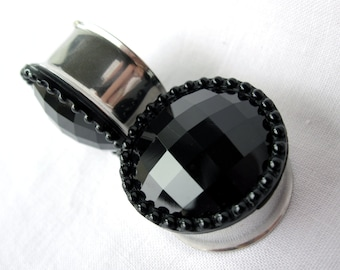 "Pair of Black Faceted Button Plugs - Girly Gauges - 9/16"", 5/8"", 3/4"", 7/8"", 1"" (14mm, 16mm, 19mm, 22mm, 25mm)"