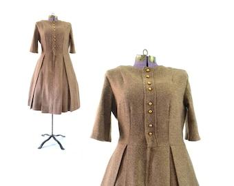 Wool dress, 1950s dress, large dress,  50s dress, large 50s dress, tan, tweed, brown. vintage dress, vintage clothing, winter dress
