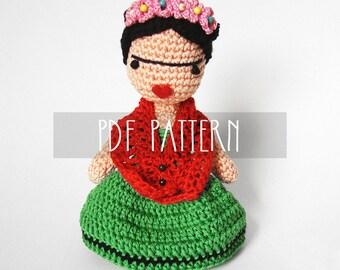 PDF PATTERN - EN - Crochet pattern for amigurumi - Frida Doll - ooak
