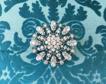 Art Deco Brooch.Rhinestone Brooch.Art Deco Pin.Silver Brooch.Round Brooch.Crystal Brooch.Crystal Pin.Vintage Style.Art Deco Broach.Flower