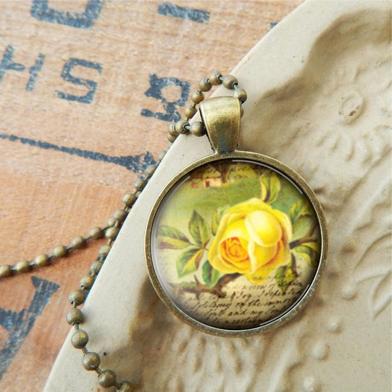 Yellow rose necklace yellow rose pendant rose jewelry mozeypictures Gallery