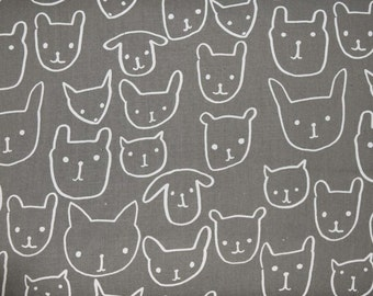 Hello Animal Faces in Grey from Print Shop by Alexia Abegg for Cotton & Steel sold