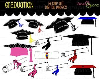 Graduation Clip Art Graduation Clipart Digital Graduation Caps Diploma Digital Clip Art Printable Instant Download