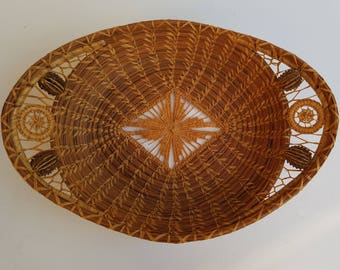 Decorative Oval Pine Needle Basket with Pointy Seed Pods Sewn with Grass