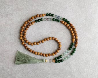 The PISCES Mala - Jade & Fluorite with Quartz Crystal / Robles Wood - Green Tassel - Item # 712