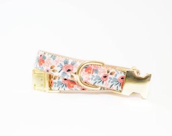 Les Fleurs Rosa Flora Dog Collar in Peach