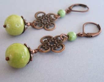 Filigree Stone Earrings - Lime Stone Beads, Antique Copper
