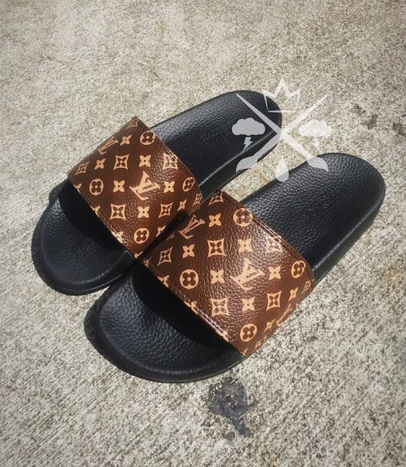 Louis Vuitton Luxury Designer Lv Custom Slides Sandals Flip