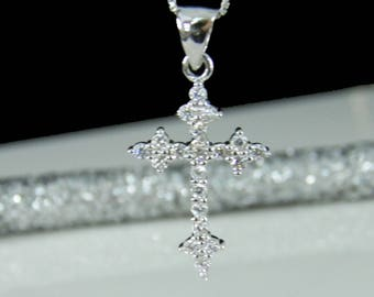 Cubic Zirconia Cz Cross Necklace - Easter Gift - READY TO SHIP