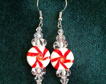 Peppermint Candy Pinwheels Dangle Earrings