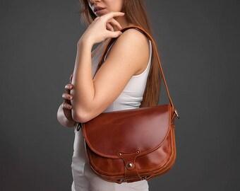 Leather bag leather handbag brown leather bag leather purse leather crossbody crossbody bag leather messenger handbag shoulder bag gift