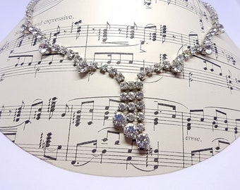 Asymmetric Rhinestone Choker Necklace, Asymmetric Crystal Choker, Wedding Bridal Necklace Gift, Elegant Evening Necklace, Something Old