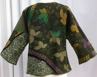 RESERVED - Hand Felted Merino Wool and Silk Kimono Style Jacket