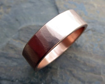 6mm Rustic Hammered Gold Wedding Ring - Wide Band in Solid 14k Yellow or Rose Gold - Flat Rectangular Thick Band - Matte or Polished Finish