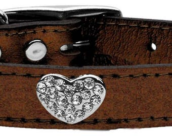Crystal Heart  Metallic Leather Dog Collar Many Colors and Sizes
