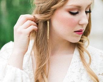 Gold Fringe Earrings with Gold Filled Earring hooks