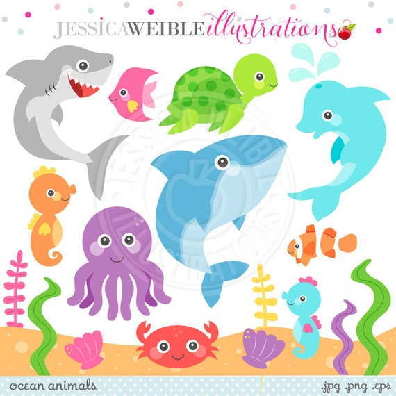 Ocean Animals Cute Clipart Ocean Animal Graphics Under the