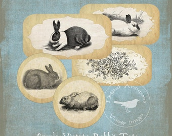 Simple Vintage Rabbit Tags Printable Digital Download