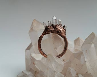 Quartz points crystal copper electroformed ring