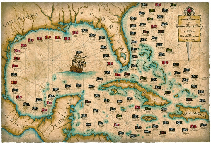 101 Pirates And Their Flags Large Artwork 18: Gulf Of Mexico Shipwrecks Map At Infoasik.co