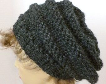 Mens or Womens Hand Knit Beehive Slouch Hat Color Charcoal(H-125)