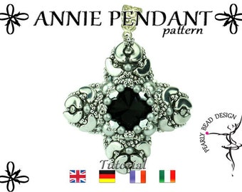 ANNIE pendant pattern DIY tutorial with Arcos and Minos beads by Puca (pdf file)