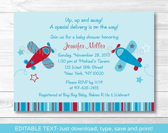 Airplane Baby Shower Invitation INSTANT DOWNLOAD Editable PDF A416