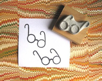 Tiny Eyeglasses - Hand Carved Stamp