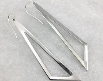Silver Plated Long Geometric Earrings | Silver Triangle Earrings | Sterling Silver Ear Wires | Mirrored Design