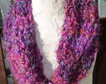 Cowl / Infinity Scarf Crochet in Petunia Yarn Measures 34 inches Around by 11 inches Wide