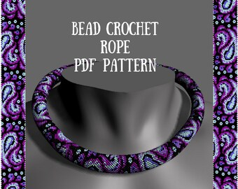 Bead crochet necklace pattern Bead crochet pattern Beaded patterns for seed beads Beading patterns seed beads Beaded rope pattern PDFs