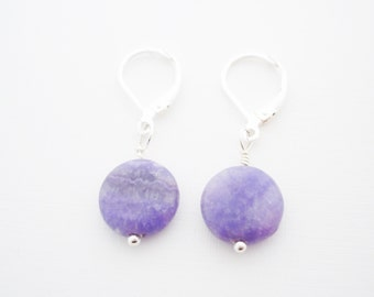 PREPPY PURPLE EARRINGS - gift for women, purple agate coins, leverback earrings, gifts for her, for a good cause, I Love My Dog Jewelry